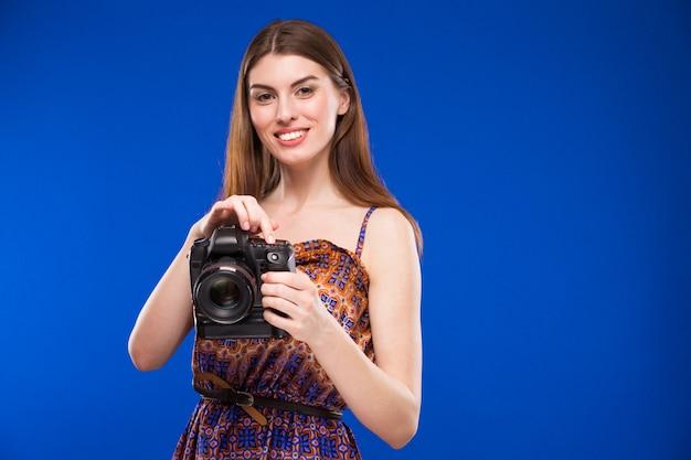 Menina, com, um, câmera, em, mão