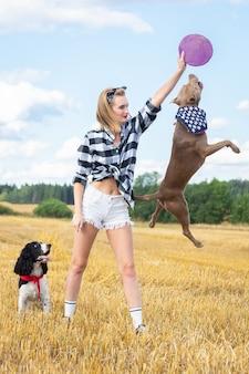 Menina, com, um, cão