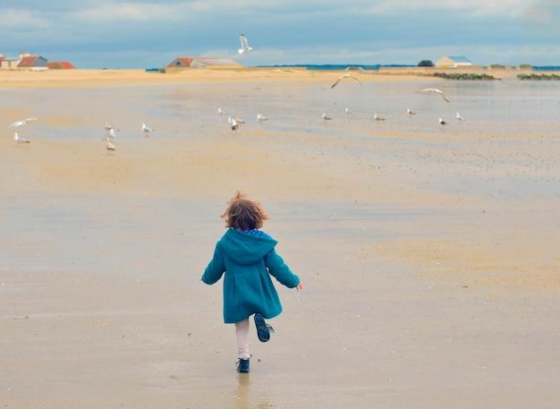 Menina com um casaco verde e gaivotas