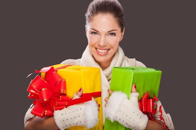 Menina, com, um, presentes