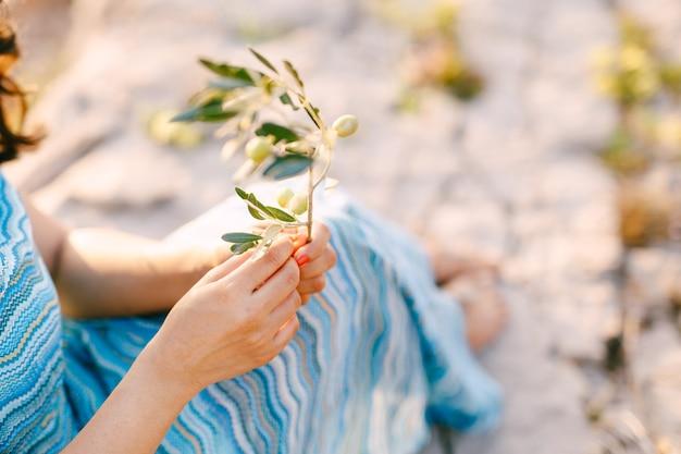 Menina com um vestido listrado azul se senta e segura um galho com azeitonas verdes nas mãos