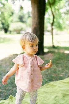 Menina com uma panqueca na mão em pé sobre um cobertor em um gramado verde