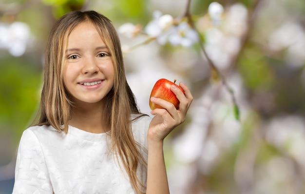 Menina, com, vermelho, delicious, maçã