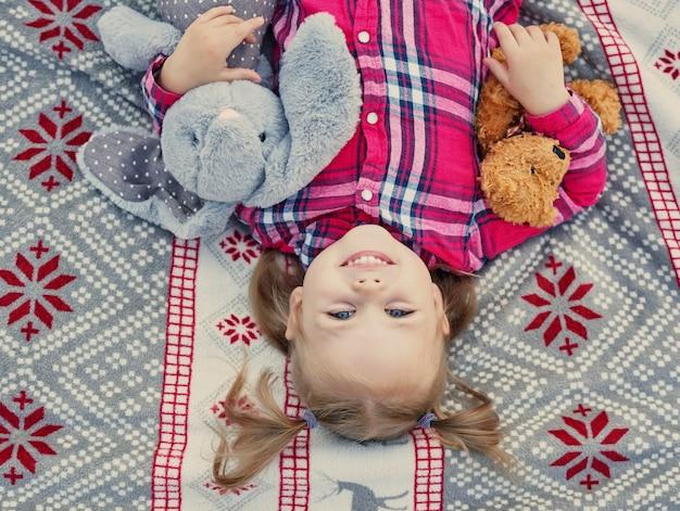 Menina criança com brinquedos macios em uma manta, natal em julho na natureza
