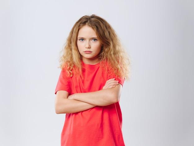 Menina criança, posar, retrato