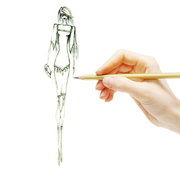 Menina da moda em desenho de vestido