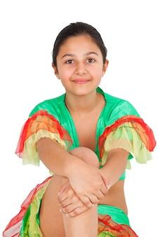 Menina, dançar, com, latino americano, roupa