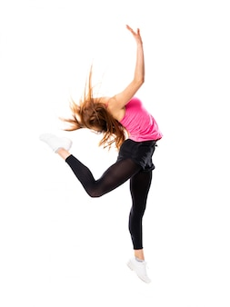 Menina de dança jovem sobre branco isolado