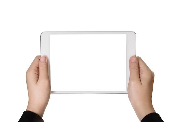 Menina de mão usando fundo branco tablet isolado