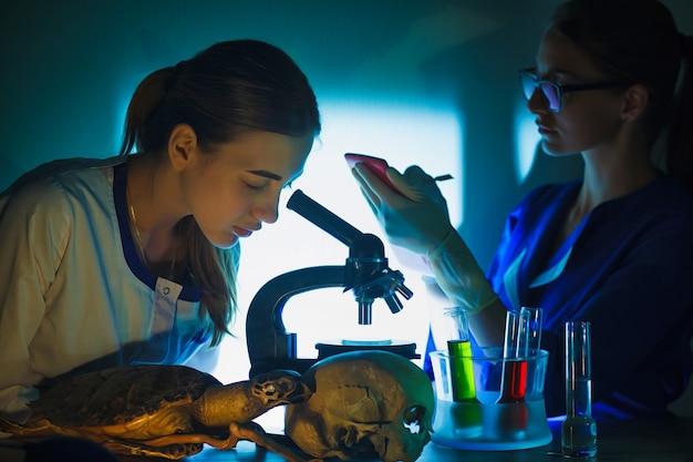 Menina do estudante que olha em um microscópio, conceito do laboratório de ciência.