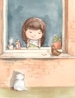 Menina doente está entediada pela janela com um gato branco