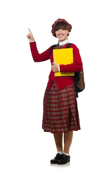 Menina, em, escocês, tartan, roupa, isolado, branco
