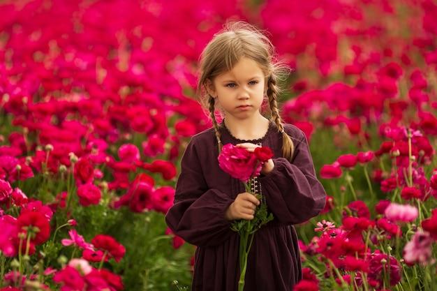 Menina em pé olhando no meio de um campo de flores roxas de botão de ouro, em um dia quente de verão no sul de israel