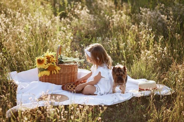 Menina em um piquenique com um cachorro no prado