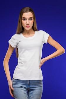 Menina, em, um, t-shirt