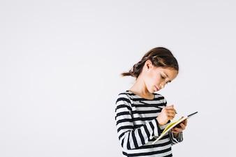 Menina, escrita, em, caderno