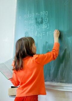 Menina, escrita, ligado, conselho escolar