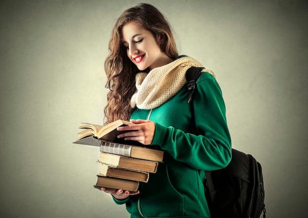 Menina estudante, com, livros