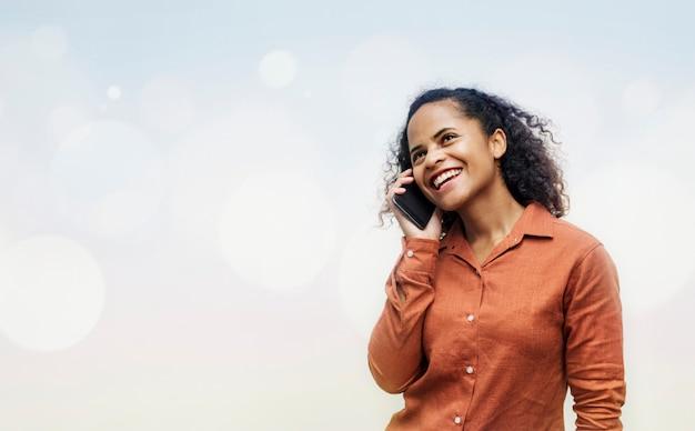 Menina, falando, telefone