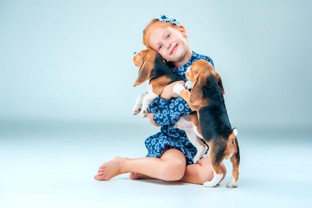 Menina feliz e dois filhote de beagle em cinza
