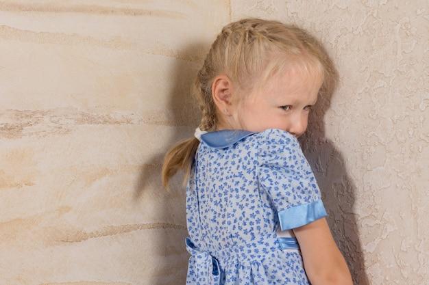 Menina fofa com cabelo trançado em um vestido azul e branco, isolada em paredes de madeira