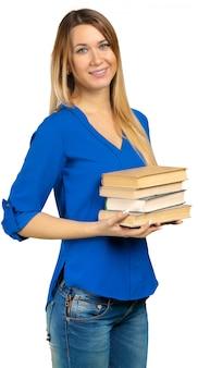 Menina jovem, com, livro, isolado, ligado, um, branca
