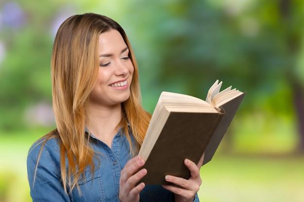 Menina jovem, com, livros