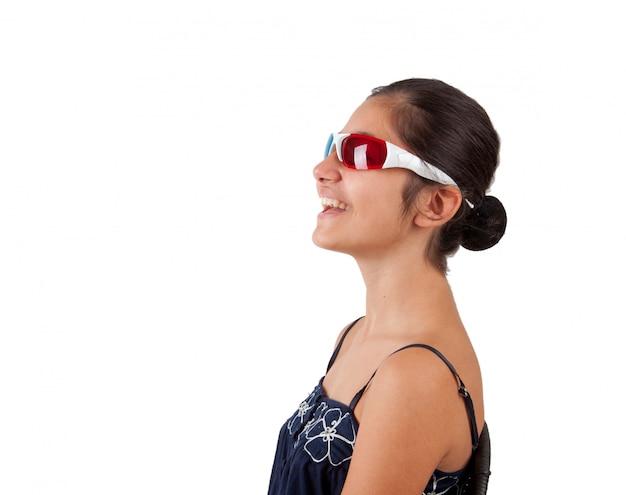 Menina jovem, com, tridimensional, óculos