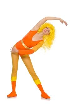 Menina jovem, fazendo, exercícios, branco