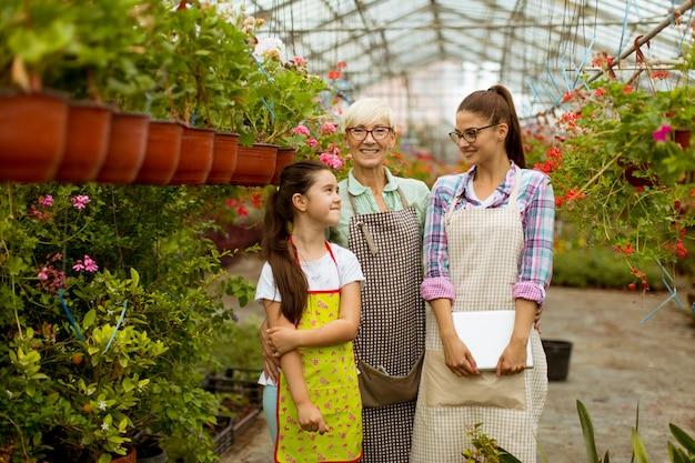 Menina, jovem mulher e mulher sênior em pé no jardim