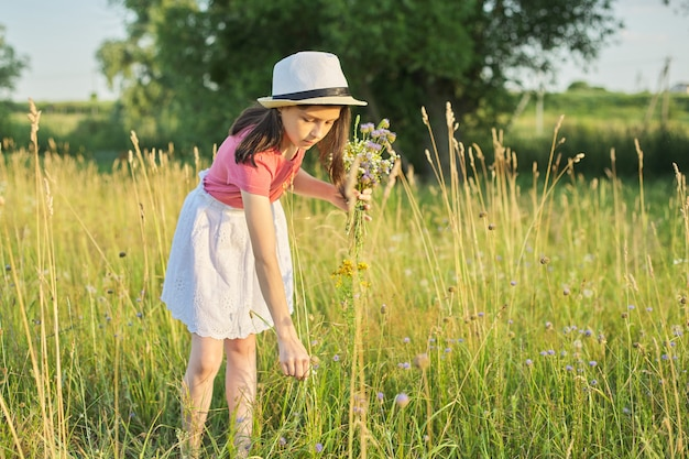 Menina linda criança com chapéu, vestido em campo, rasgando o buquê de flores silvestres, hora de ouro, com espaço de cópia. beleza, natureza, lazer, infância feliz, conceito de férias de verão