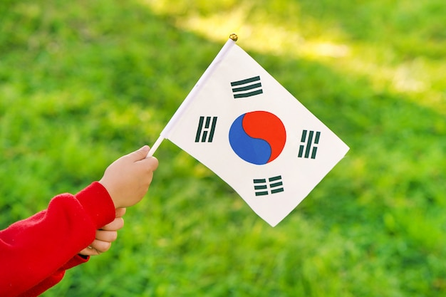 Menina mãos segurar a bandeira da coreia do sul