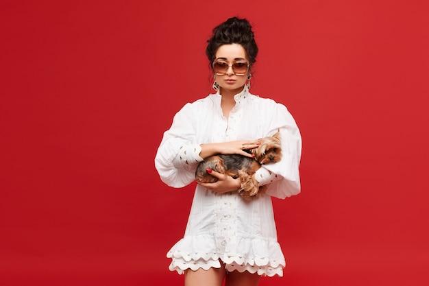 Menina modelo com cabelo preto encaracolado em óculos de sol da moda e vestido branco mantém um yorkshire terrier ...