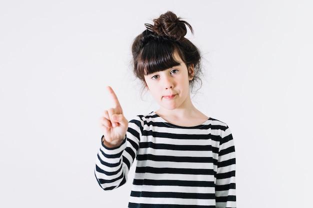 Menina, mostrando, não, gesto