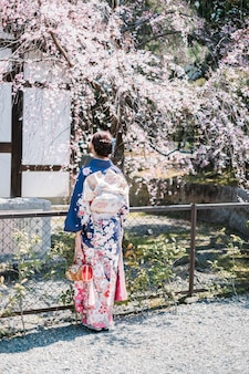 Menina mulheres no quimono e árvore de sakura