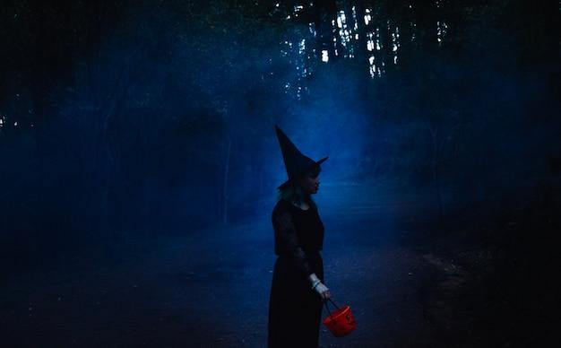 Menina no chapéu da bruxa na madeira da noite