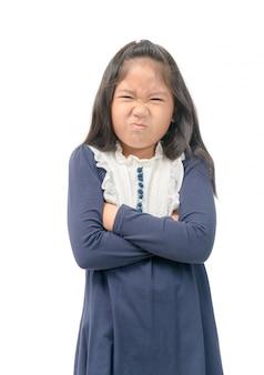 Menina nojo algo cheira mal a situação de mau cheiro.