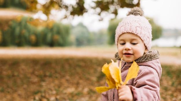Menina olhando folhas na floresta de outono