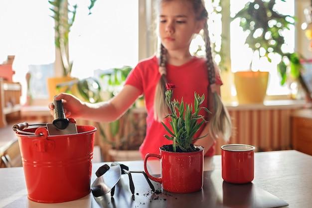 Menina pré-adolescente replantando flores verdes em vasos de plantas verdes em vasos de plantas verdes em casa decoração floral