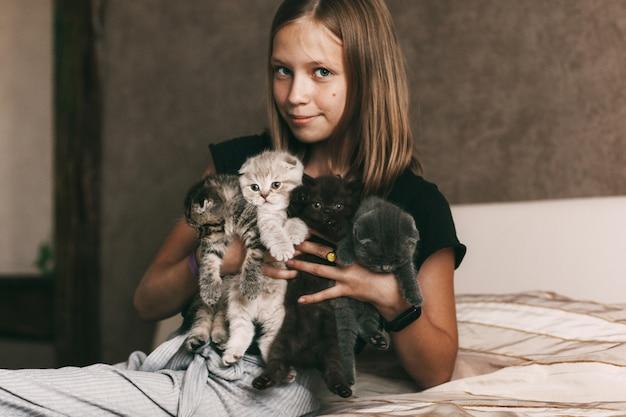 Menina segurando lindos gatinhos britânicos nos braços