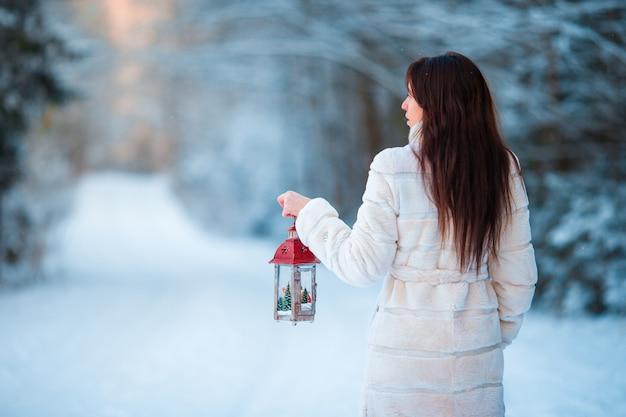 Menina, segurando, natal, lanterna, ao ar livre, ligado, bonito, inverno, neve, dia