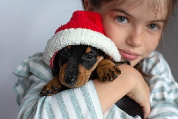 Menina segurando um cachorrinho bassê em seu presente de ano novo com chapéu de papai noel
