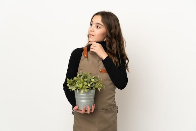 Menina segurando uma planta isolada no fundo branco, olhando para cima enquanto sorri