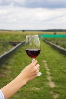 Menina segurando uma taça de vinho tinto