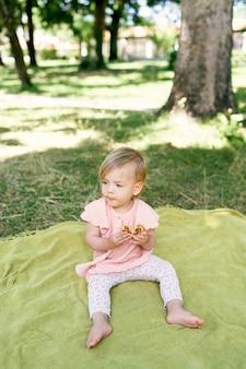 Menina sentada em um cobertor em um gramado verde e comendo uma panqueca