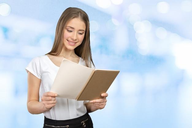 Menina sorridente, com, livros