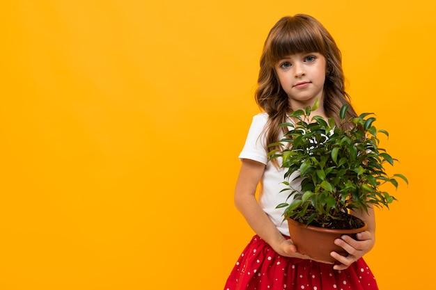 Menina sorridente com planta verde em close-up de fundo laranja isolado.