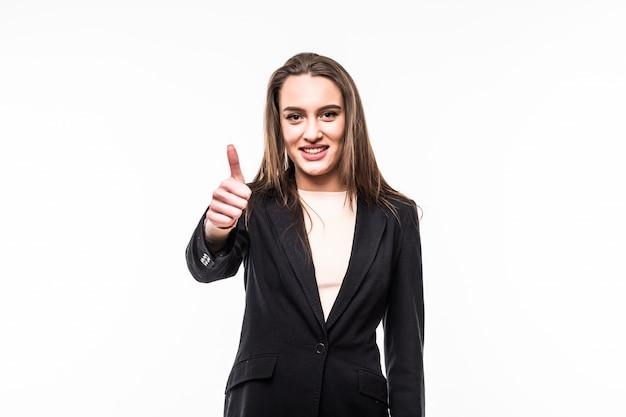 Menina sorridente de negócios isolada sobre o branco