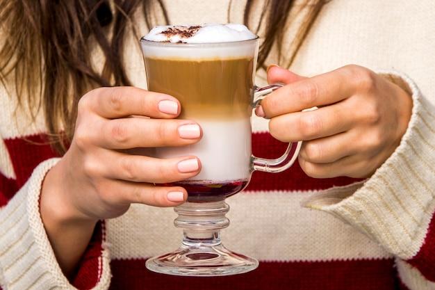 Menina, tendo, vidro, de, café