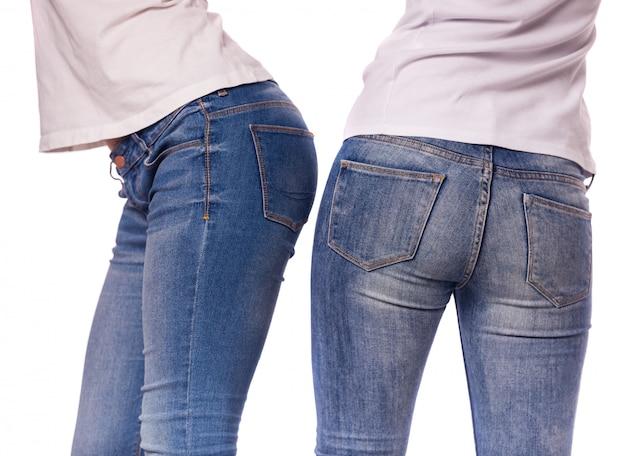 Meninas, com, calças brim